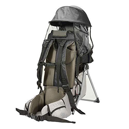 NBZH Kindertrage Rucksack Wandern Bergsteigen rücken Rahmen Pack mit 11L Abnehmbarer Tagesrucksack mit Klappstuhl Sonnenschirm Lager Gewicht £ 60,Black