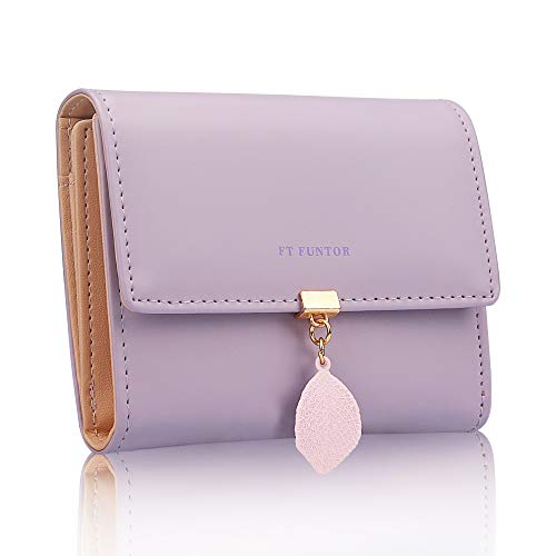 FT FUNTOR PU Leather Wallet for Women RFID-Blocking, Ladies Bifold Leaf Pendant Coin Zipper Small Purse with 5 Card Slots and 1 ID Window Card Holder Organizer(S-Purple)