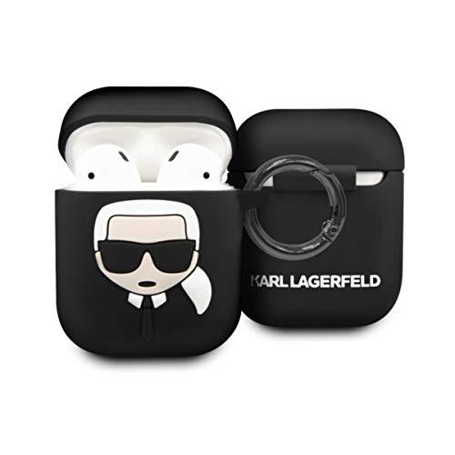 Karl Lagerfeld Schutzhülle kompatibel mit AirPods 1 und 2 – Silikonhülle – Karabinerhaken – Karl Kopf aus Relief (schwarz), KLACCSILKHBK, Airpods 1/2