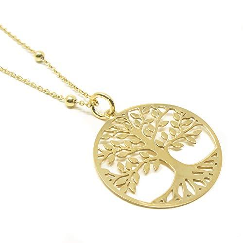 Collar Árbol de la Vida para Mujer, Plata de Ley 925 con Baño de Oro, Colgante, Gargantilla. Largo de la Cadena 45 Centímetros.Viene en Caja de Regalo. (45)