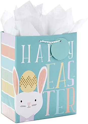 Hallmark 9 Medium Easter Gift Bag with Tissue Paper Teal Easter Bunny for Kids Easter Baskets product image