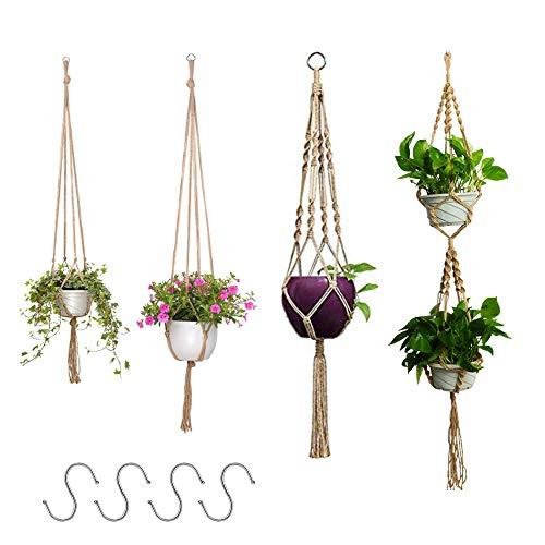 Nsiwem Blumenampel Seil 4 Stück Makramee Baumwollseil Hängeampel Blumen hängetopf Blumentopf Pflanzen Halter Aufhänger Wandbehang Pflanzer Korb mit S-förmiger Haken