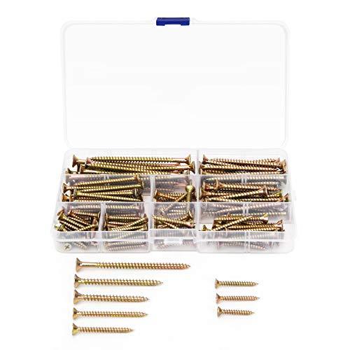 EioTek 150 tornillos de cabeza plana Phillips M3.5 M4 M5 con cabeza plana y chapado en zinc, tornillos de madera, kit surtido para paneles de yeso, madera, mueble