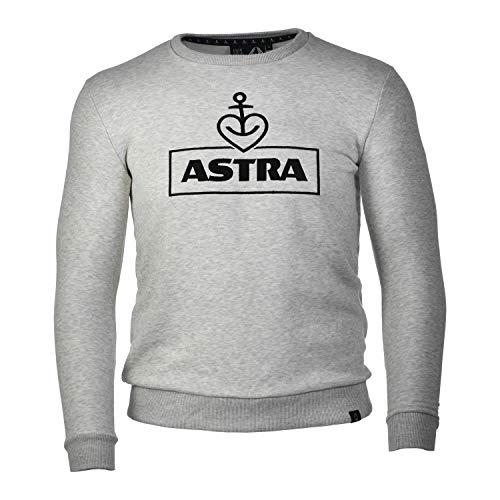 ASTRA Sweatshirt-Pullover, grau-meliert, mit Herzanker-Stick, für Damen & Herren, Grauer Sweater aus St.Pauli (M)
