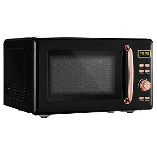 Countertop Microwave Oven20L07cu ft Compact Microwave700W Retro Microwave with LED Display Golden HandleFive Power Levels360° Rotating Evenly Heating black