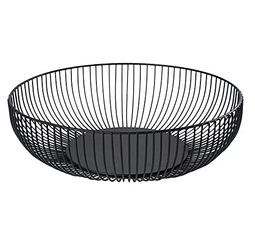 Metal Wire Countertop Fruit Bowl Basket Holder Stand for Kitchen | Black Modern Home Table Decor - 11 Inch (Round C)