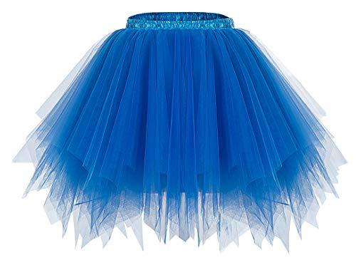 bridesmay Damen Tüllrock 50er Tütü Rock Kurz Ballett Unterrock Karneval Kostüm Crinoline Petticoat Tutu Royal Blue S
