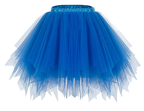 bridesmay Tutu Damenrock Tüllrock 50er Kurz Ballet Tanzkleid Unterkleid Cosplay Crinoline Petticoat für Rockabilly Kleid Royal Blue M