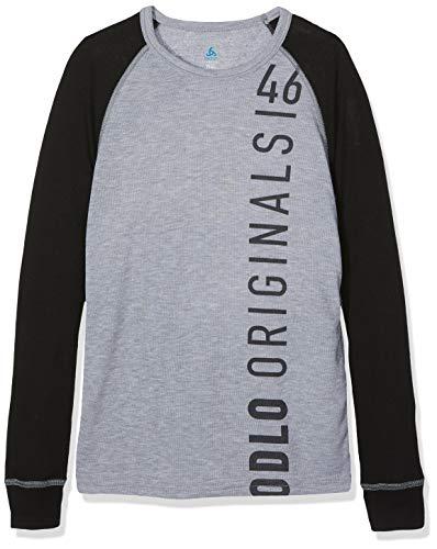 Odlo 150519 T-Shirt à Manches Longues Enfant Noir/Mélange Gris/Placed Print Fw18 FR : S (Taille Fabricant : 128)