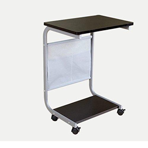 XIA Chevet Simple Petite Table Blanc Pin Noir Noyer Table Paresseuse Table D'ordinateur portable Type De Terre Il Peut Déplacer Bureau Lit Bureau Double Couche 48 * 33 * 66.5 cm (Couleur : A)
