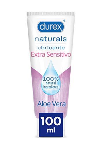 Durex Naturals Extra Sensitivo Lubricante Base Agua, Aloe Vera,% Natural Sin Fragancia, Colorantes ni Agentes Irritantes, 100 Ml