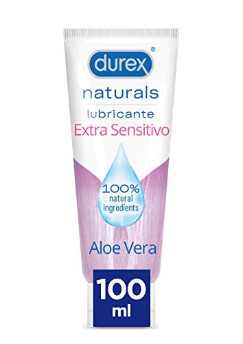 Durex Naturals Extra Sensitivo Lubricante Base Agua, Aloe Vera, 100% Natural sin Fragancia, Colorantes ni Agentes Irritantes - 100 ml