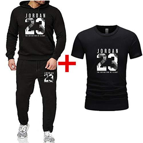 XMYP Conjunto de chándal para hombre, 3 piezas, con capucha de baloncesto 23 # Jordan Sudaderas deportivas traje casual camiseta sudadera sudadera con capucha y pantalones pantalones Negro-XXXL