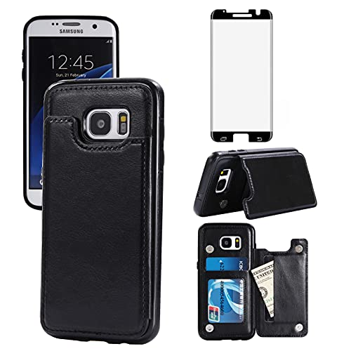 Asuwish Compatible with Samsung Galaxy S7 Edge Wallet Case and Tempered Glass Screen Protector Card Holder Cover Stand Cell Phone Cases for Glaxay S7edge Gaxaly S 7 Plus Galaxies GS7 7s 7edge Black