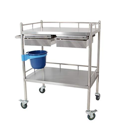 KKYY Grote Rolling RVS Utility Cart, Heavy Duty Food Service En Bus Cart, 2 Plank, 2 Laden, Vier Rondes Verwijderbare Schoonheid Auto Utility Voertuig - 4 Size