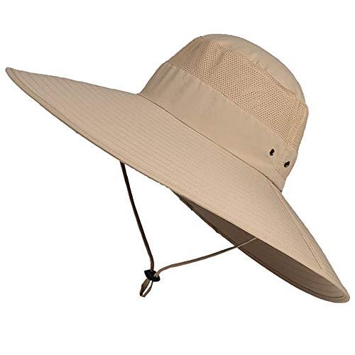 WANYIG Cappello da Sole da Esterno Uomo Fisherman Hat Cappello da Pescatore Protezione UV con Falda Larga 15 cm (Cachi)