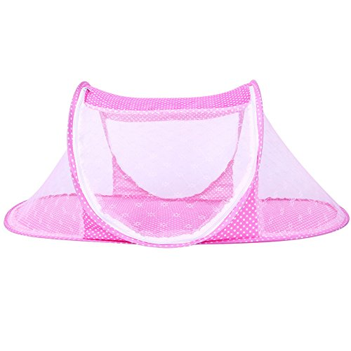 CHRISLZ Summer Mosquito Net for Children,Portable Folding Baby Travel Bed Crib Baby Cots Newborn Foldable Crib (Pink-T)