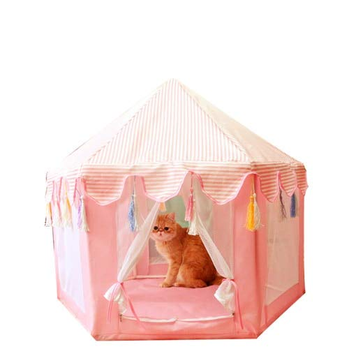 Xiaohua Tienda De Mascotas Hexagonal Tipi Casa De Mongolia Cama para Perros Perrera Casa Gatito Nido De Gato Tienda De Malla Desmontable 85 * 75CM A