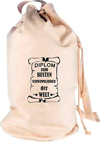 Shirtstown Rucksack Seesack, Diplom zum besten Schwimmlehrer der Welt, Motiv Logo Sack Beutel Tasche Reise Urlaub See Campen, Farbe Natur