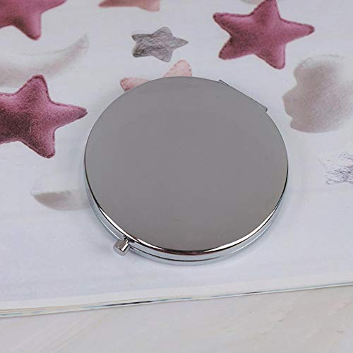 LASISZ Outil de Maquillage Nice Gift Portable Double Side Mirro Fashion Women Ladies Make Up Mirror Cosmetic Folding Compact Pocket, Silver