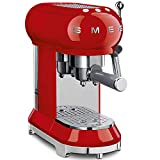 Smeg ECF01RDUK Traditional Pump Espresso Coffee Machine, Adjustable Cappuccino System, Flow Stop Function, Removable Drip-Tray, Anti-Drip System, Anti-Slip Feet, 1350 W, 1 Litre Tank, Red
