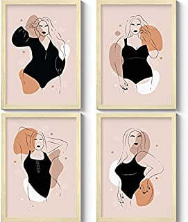 GS DECOR Set of 4 Minimalistic Female Figure Wall Art With Plexi Glass 12 9 Inches | Aesthetic Pictures Wall Frames For Ro...