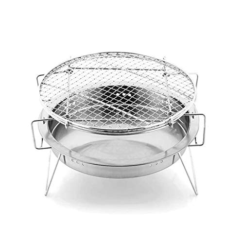 Find Discount NAZHIJINGKEJI Round Grill, Stainless Steel Mini Folding Portable Grill for Outdoor Cam...