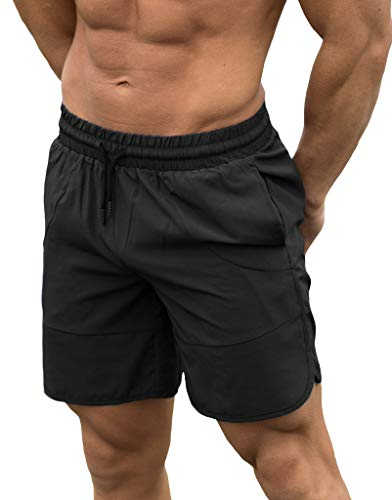 FLYFIREFLY Men's Gym Fitness Drying Workout Shorts Running Short Pants with Pockets Black