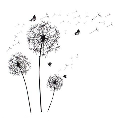 sourcing map Wandaufkleber Pusteblume Schmetterling Muster selbstklebend ablösbar Papier Wandtattoo, Wandbild Ornament de