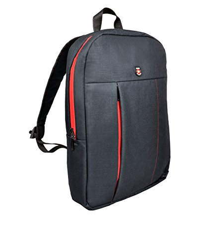 Port Designs Portland Urban Slim Padded Backpack for 15.6-Inch Laptops, Black/Red