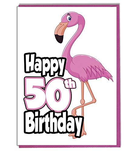 Tarjeta de felicitación de 50 cumpleaños con diseño de flamenco rosa, para dama, hija, nieta, hermana, amigo
