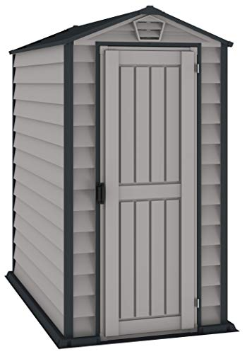 Duramax EverMore 4 x 6 Plastic Garden Storage Shed, Adobe & Grey, Fire Retardant & All-Weather Outdoor Storage Solution, Includes Plastic Floor, Strong Structure & Maintenance-Free Vinyl Shed