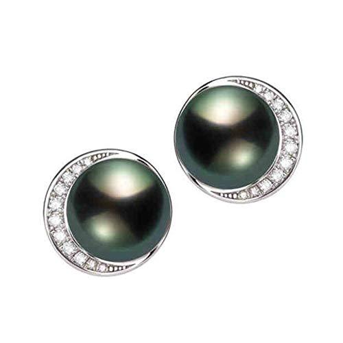 KnSam 18K Oro Blanco Pendiente, Arete Redondo Forma con Perla Diamante Blanco, Perla Verde Pavo Real, Color Oro Blanco