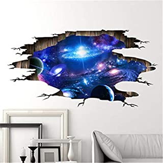 Galaxy View Sticker Space Wall Decal Kids Room Porthole Wall Mural Boy Room Stars Wall Decal 3D Porthole Window LP47 Space Decor