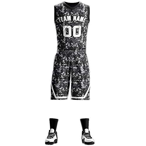 Custom Athletic Basketball Jerseys Shirt Print Personalized Team Uniforms for Sports for Men/Youth Black Camouflage