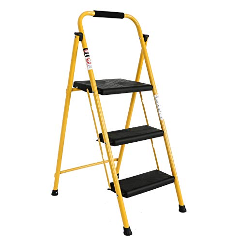 EFINE 3 Step Ladder, Folding Step Stool, Oversized Pedal and Position Lock, High Grade Steel with Smooth Powder Coating, Sturdy and Lightwight, Holding up to 500lbs. (Yellow)