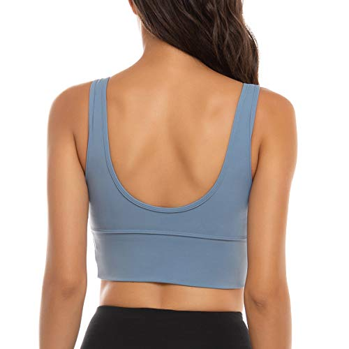FORLAND Crop Top Sports Bras for Women - Womens Longline Sports Bra High Support Workout Yoga Bra Tops,Blue Grey,Small