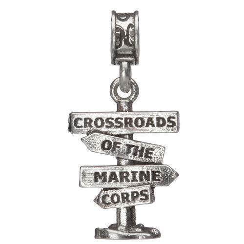 New product 100% quality warranty! .925 Sterling Silver Charm Crossroads United of the Corps Marine