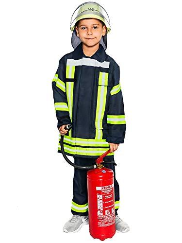 Maskworld Realistische deutsche Feuerwehrmann-Uniform mit Jacke und Hose für kleine Löschmeister - Kinder-Kostüm - Verkleidung Anzug für Karneval Fasching & Halloween - Größe 104