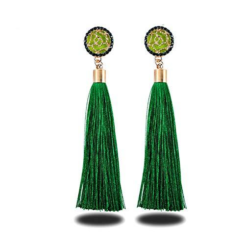 Shager Borlas Largo Pendientes de Flecos Bohemios para Mujer para Regalo de Cumpleaños Decoración de Fiesta (Verde)