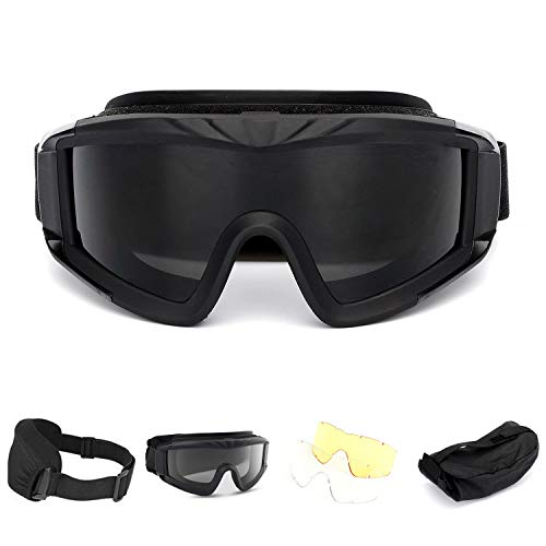 MultiOutools Airsoft Goggles,Tactical Safety Goggles Anti Fog Military Glasses with 3 Interchangeable Lens for Paintball Riding Shooting Hunting Cycling (Black)