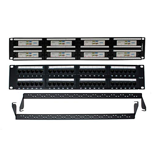 I-CHOOSE LIMITED Cat 6 48-Puerto Panel de Parche con Manejo de Cable Trasero