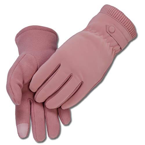 KINGMATE Thermo Handschuhe Damen Winter Outdoor Fahrradhandschuhe, Warm Fleece in den Laufhandschuhe mit Touchscreen-Funktion, Farbe: Rosa