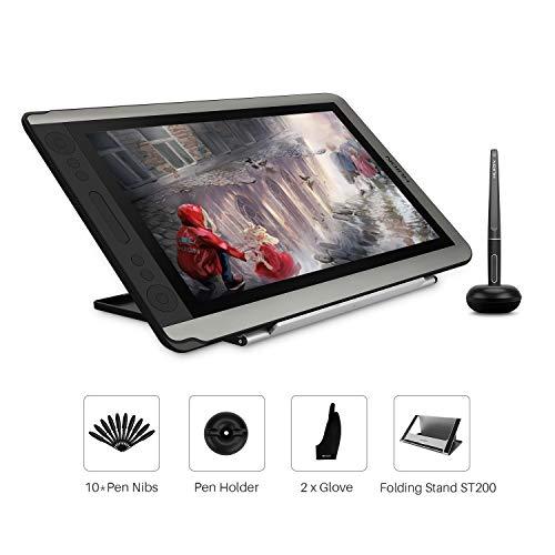 HUION Kamvas 16-15.6 Zoll Pen Display Stift mit Tilt-Funktion Grafiktablett mit Bildschirm Entspiegeltes Glas mit 14 Express-Tasten und 1 Touch-Bar und klappbarem verstellbarem Ständer