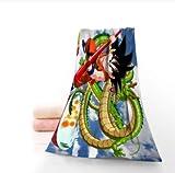 chinawh Toalla de Anime Dragon Ball Z Personalizada Impresa algodón Cara/Toallas de baño Tela de Microfibra para niños Hombres Mujeres Toallas de Ducha 70X140cm