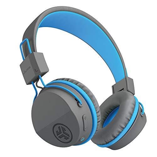 JLab Audio JBuddies Studio - Auriculares Bluetooth para Niños con 13 Horas de Duración de la Batería, Over Ear Auriculares Niños con Kid Safe Limitador de Volumen y Micrófono, Gris /Azul