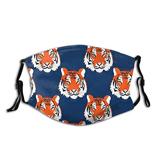 Jungle Tigers in Auburn Colors Face Mask with Filter Pocket Washable Reusable Face Bandanas Balaclava with 2 Pcs Filters
