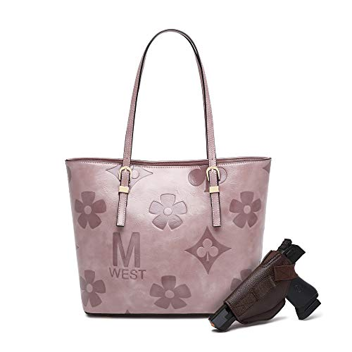 Montana West Tote Bag for Women with Holster Ladies Concealed Carry Purse Pistol Handle Tote Pink MWC-G018PK
