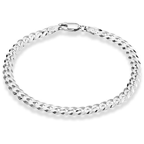 Miabella 925 Sterling Silver Italian 5mm Solid Diamond-Cut Cuban Link Curb Chain Bracelet for Men Women, 6.5, 7, 8, 9 Inch Made in Italy (9.00 Inch)