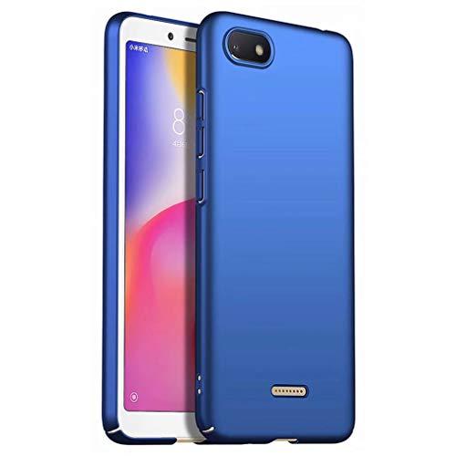 Qsdd Ersatz für Xiaomi Redmi 6A Hülle Ultra dünn Anti Scratch Handykasten Harter PC Silikon stoßfest Fall-Blau
